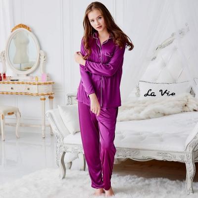 睡衣 彈性珍珠絲質 女性長袖兩件式睡衣(57202)葡萄紫-台灣製造 蕾妮塔塔