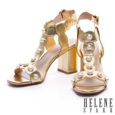 涼鞋 HELENE SPARK 復古珍珠波紋字帶牛皮高跟涼鞋-金