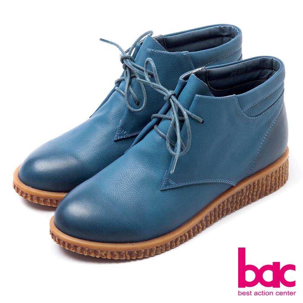 bac率性女孩-漸層蠟質綁帶短靴式休閒鞋-藍
