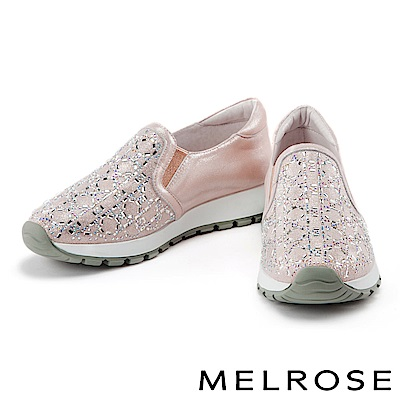 休閒鞋 MELROSE 異材質拼接獨特排鑽厚底休閒鞋-粉