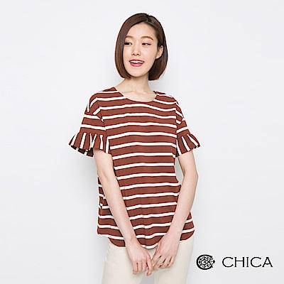 CHICA 甜漾夏日荷葉袖橫條紋上衣(2色)