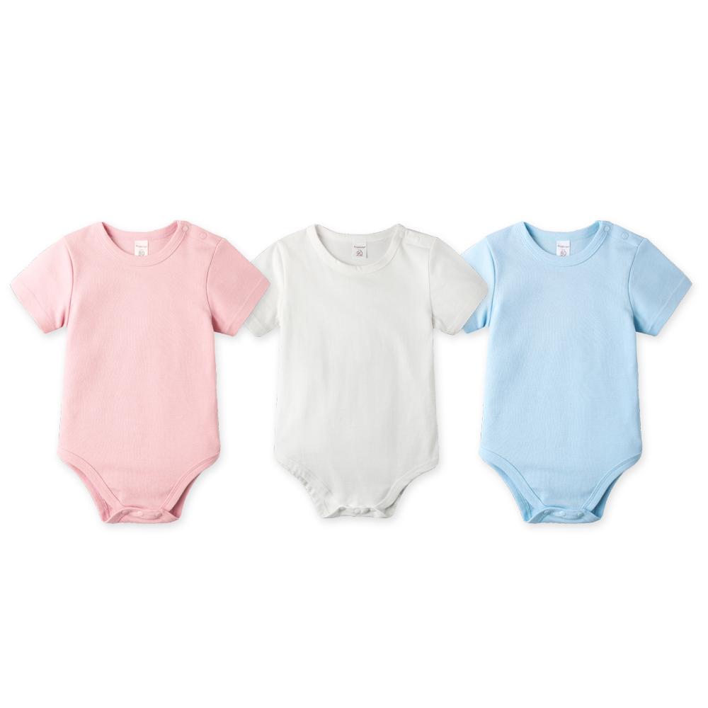baby童衣 寶寶包屁衣 短袖純棉素面圓領包屁衣61118