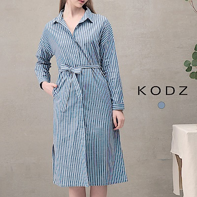 東京著衣-KODZ 菲菲聯名簡約綁帶條紋洋裝-S.M.L(共一色)