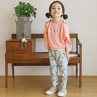 BEBEZOO 粉色害羞小兔長袖上衣褲子套裝兩件組