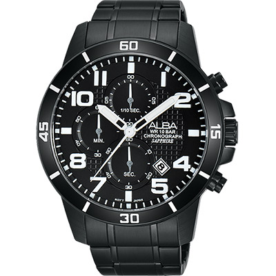 ALBA ACTIVE 活力運動計時腕錶(AM3255X1)-鍍黑/45mm