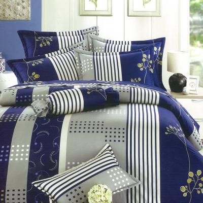 eyah宜雅 全程台灣製100%精梳純棉雙人床罩兩用被全舖棉五件組 多蘭德