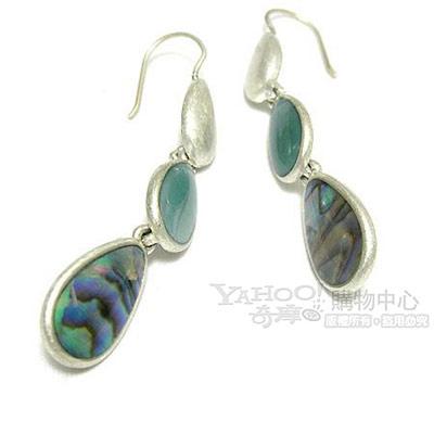 LIZ claiborne 蔚藍珠母貝垂墬耳環