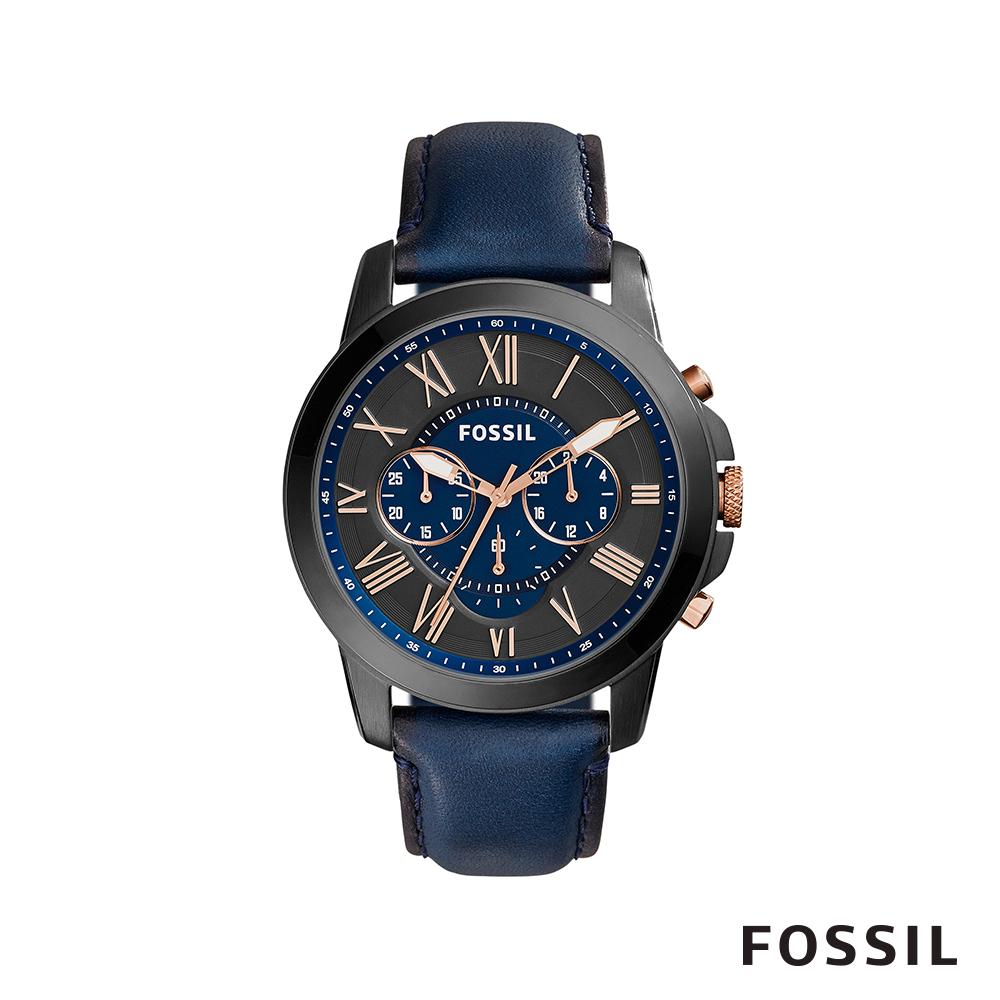 FOSSIL GRANT 大錶面男錶-午夜藍 約44mm FS5061IE