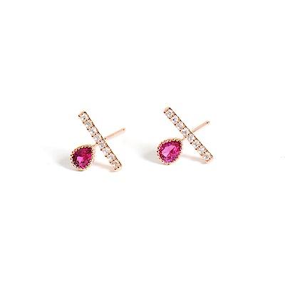 微醺禮物 正韓 鍍K金銀針 紅水滴鋯 橫槓 精緻可愛 簡約 亮眼 耳針 耳環