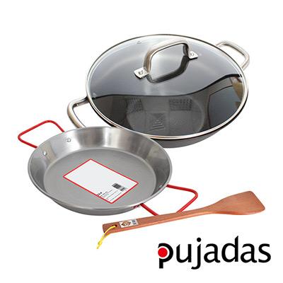 西班牙Pujadas1921輕鑄鐵深型燉鍋4件組-燉鍋30-鍋蓋-海鮮鍋24cm-木煎匙