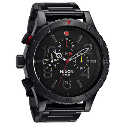 NIXON The 48-20 CHRONO 潮流重擊運動腕錶-黑x紅/49mm