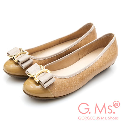 G.Ms. MIT系列-牛皮拼接圓頭蝴蝶結娃娃鞋-杏色