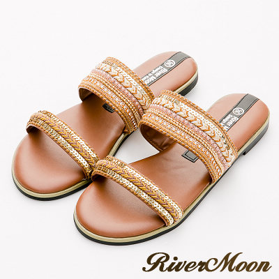 River&Moon大尺碼-異國圖騰一字寬版Q軟底涼拖鞋-棕