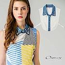 OUWEY歐薇 剪接牛仔配色蕾絲領片(藍)