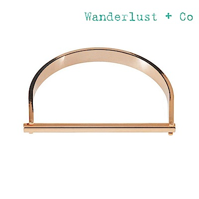 Wanderlust+Co 澳洲品牌 金屬半月型幾何玫瑰金色手鐲