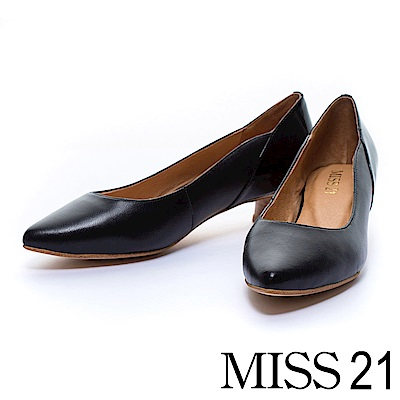低跟鞋 MISS 21 簡約古典漆皮造型羊皮木紋低跟鞋-黑