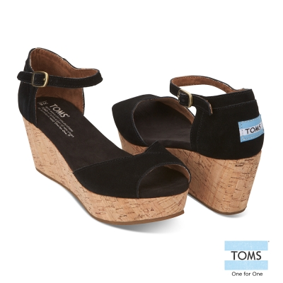 TOMS 麂皮魚口楔型鞋-女款(黑)