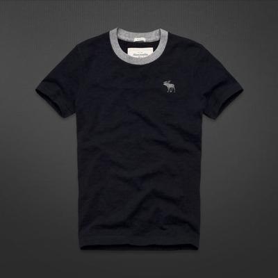 A&F  男裝 現貨 仿舊素面短T恤(深藍)