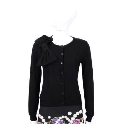 BOUTIQUE MOSCHINO 黑色蝴蝶結飾羊毛針織外套