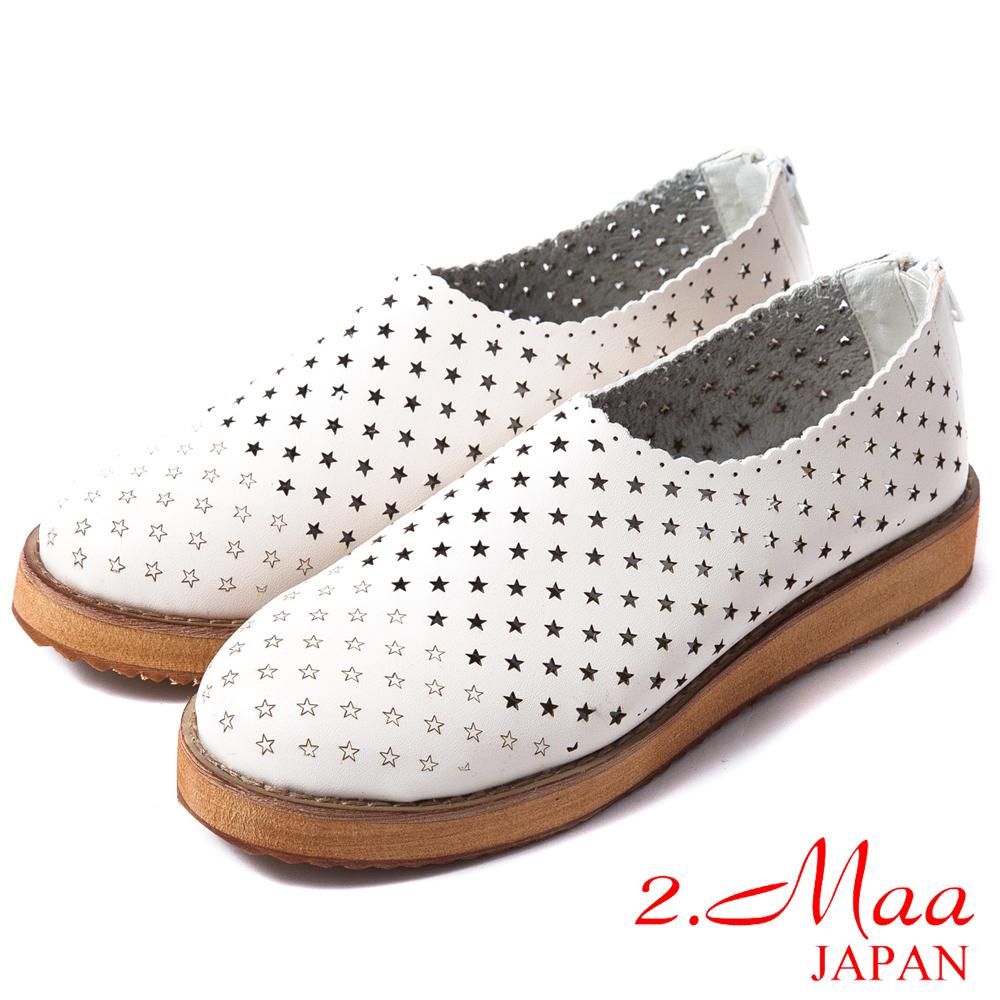 2.Maa 真皮系列-高質感牛皮夢幻星星洞洞造型樂福鞋-時尚米