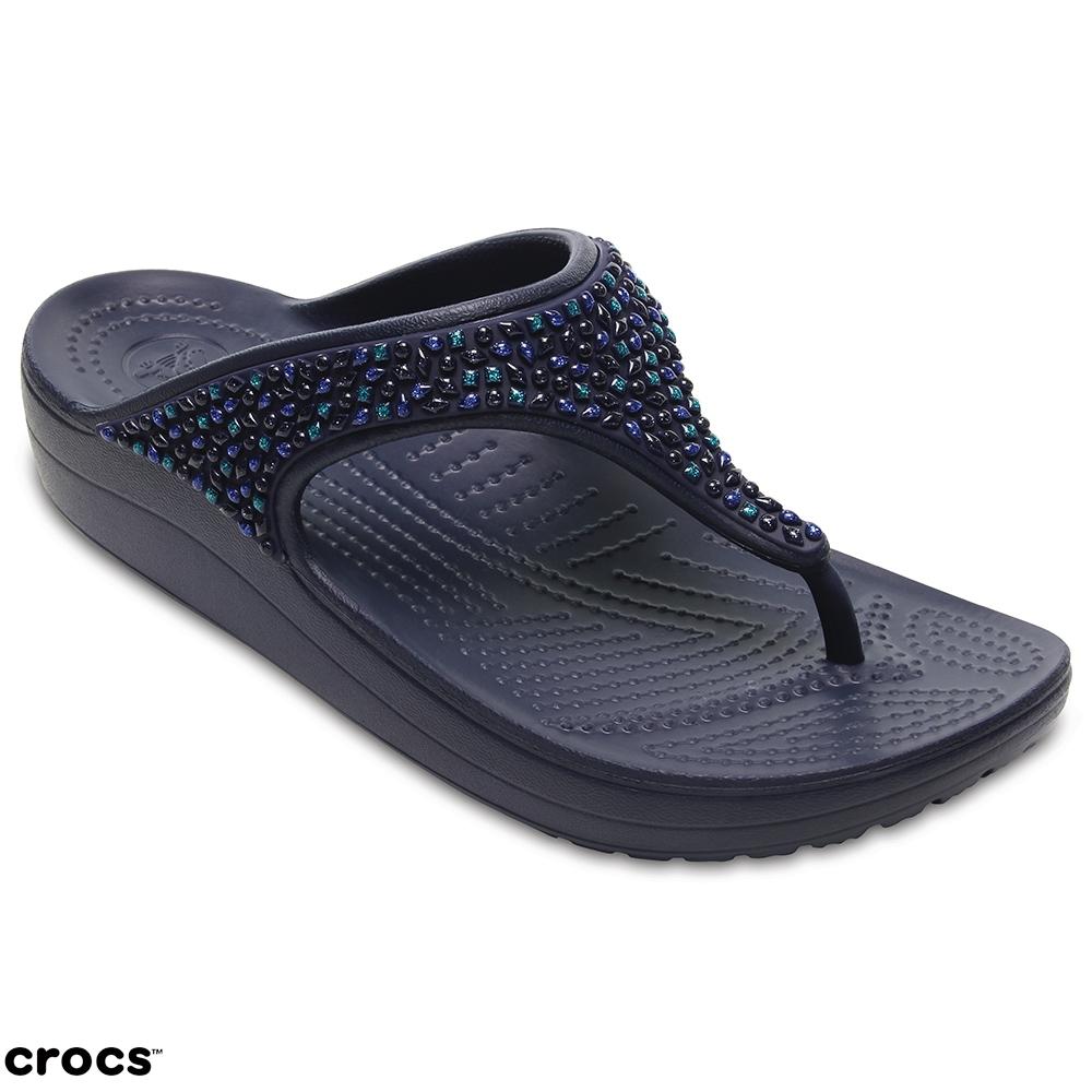 Crocs 卡駱馳 (女鞋) 思瓏厚底閃亮人字拖 204181-4AD