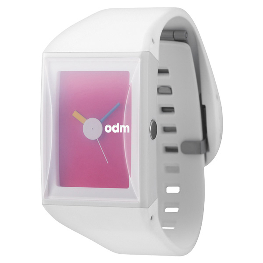 o.d.m. 繽紛線條方型腕錶-白x桃紅/29mm