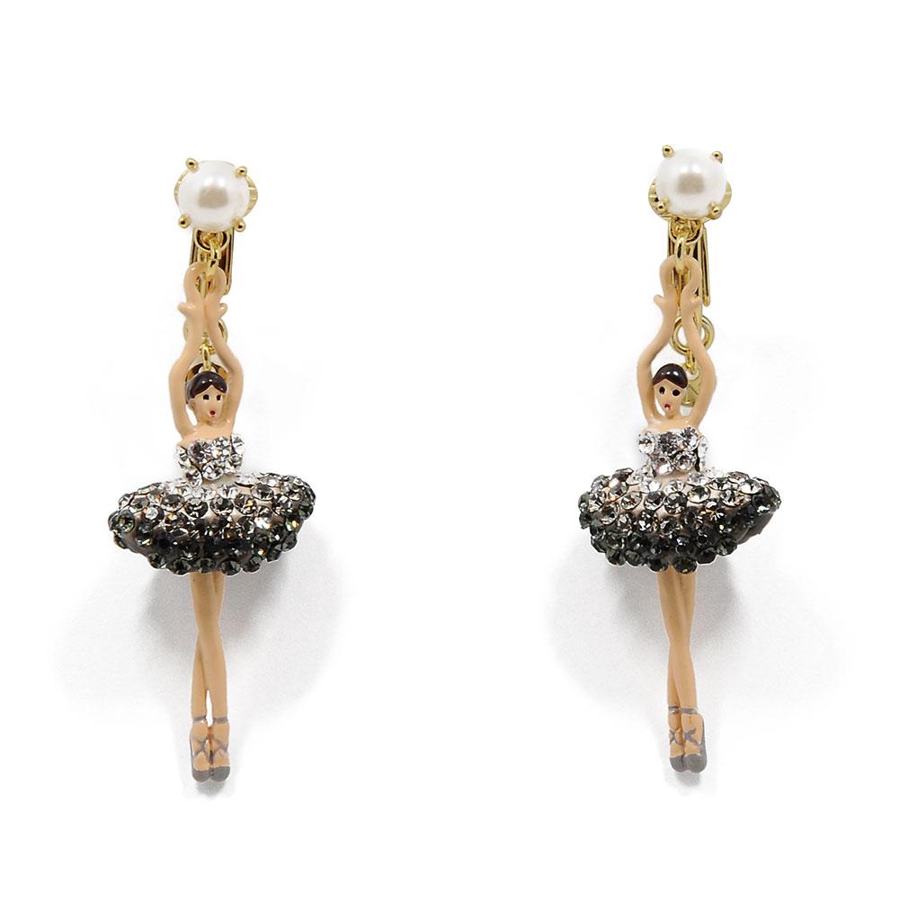 Les Nereides 優雅芭蕾舞女孩系列 閃耀銀色水鑽芭蕾舞者耳環 耳夾