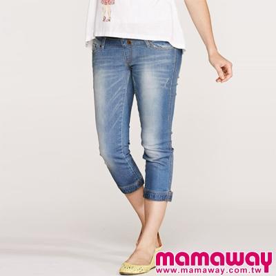Mamaway-孕婦牛仔八分孕婦褲-共三色