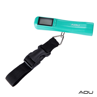 AOU 多功能日本YKK扣具行李秤 攜帶式手提行李電子秤(湖水藍)66-027