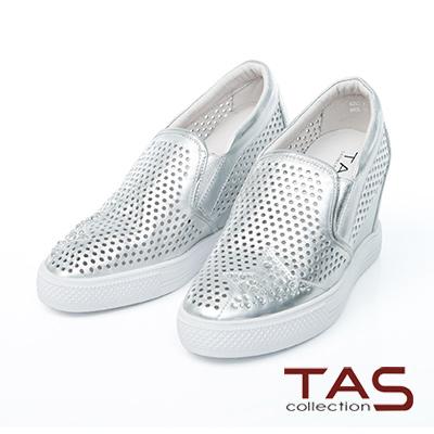 TAS-水鑽星星鏤空牛皮內增高休閒鞋-金屬銀