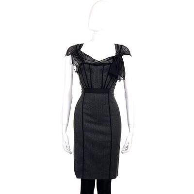 PHILOSOPHY 灰色紗質拼接包袖洋裝