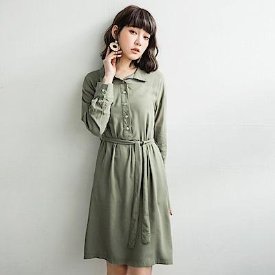 附腰帶純色柔軟襯衫洋裝-OB嚴選