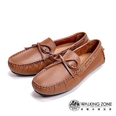 WALKING ZONE MIT真皮英倫休閒男鞋-棕
