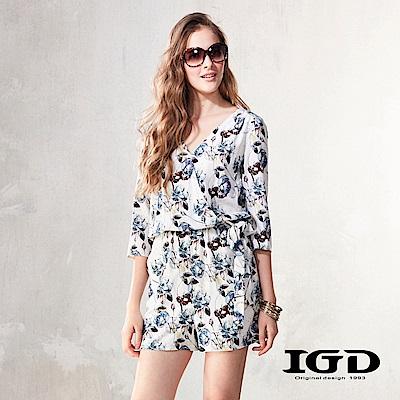 IGD英格麗 南洋度假風花卉印花連身褲