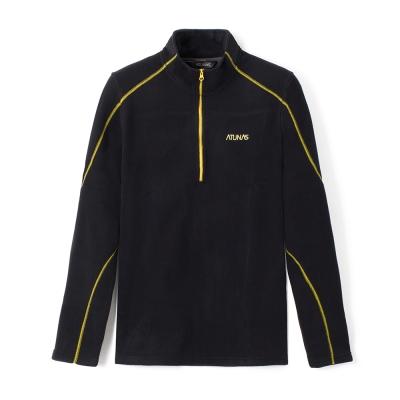 【ATUNAS 歐都納】男款Fleece刷毛長袖保暖POLO衫A-P1523M 黑