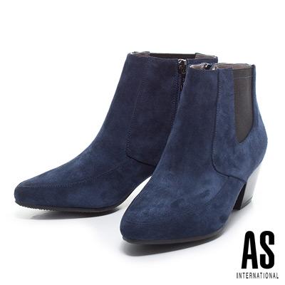 短靴 AS 簡約帥氣胎牛絨尖頭粗跟短靴-藍