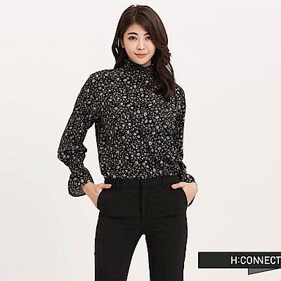H:CONNECT 韓國品牌 女裝 - 碎花後拉鍊上衣 - 黑