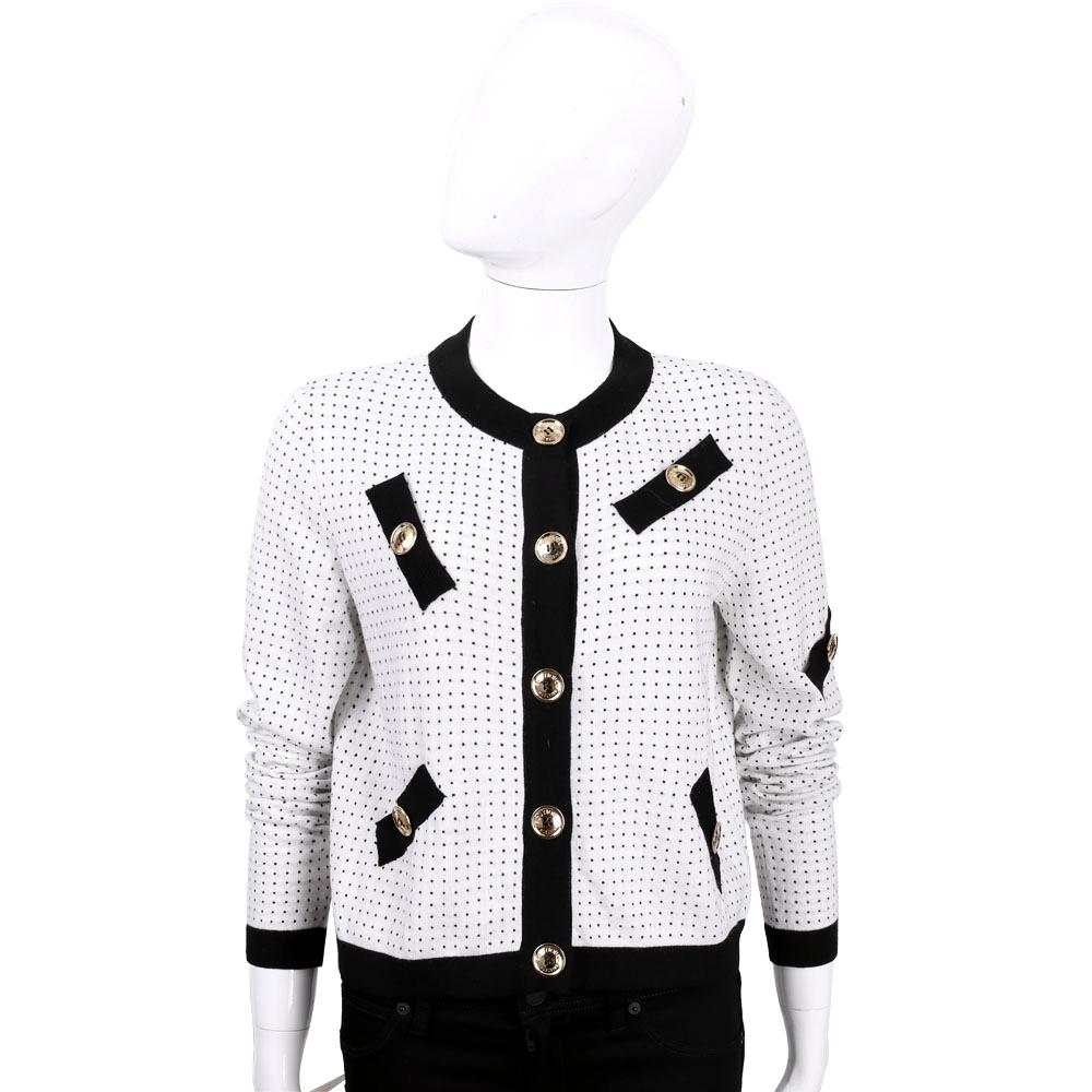 BOUTIQUE MOSCHINO 白色滾黑邊羊毛針織外套(40%LANA)