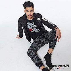 BIG TRAIN 舒適快乾亂紋迷彩束口褲-男-黑色
