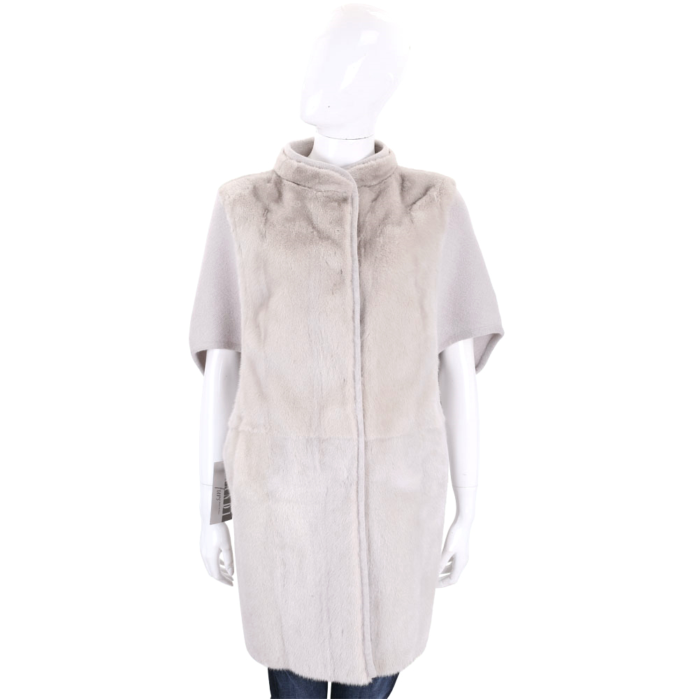 GRANDI furs 淺灰色拼接皮草五分袖外套
