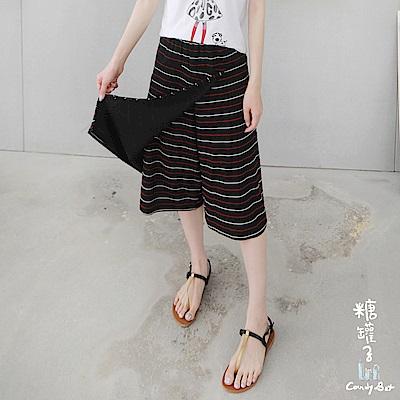 糖罐子-韓品 縮腰斜接布配色橫條紋寬管褲裙(共二色)