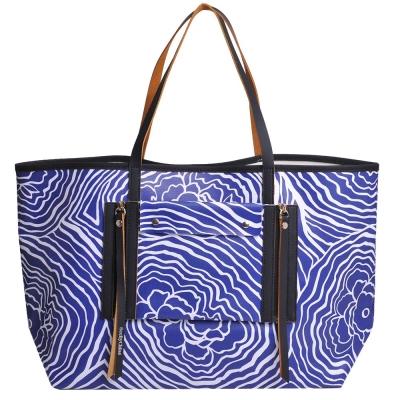 SEE BY CHLOE 印象花朵圖騰肩背購物托特包(寶藍/白)