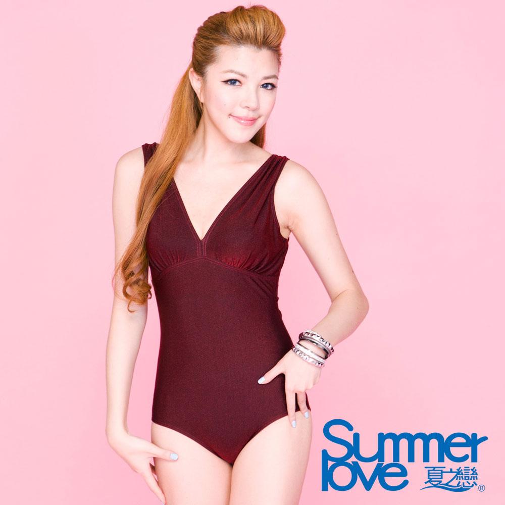 夏之戀SUMMERLOVE 酒紅色連身三角泳衣-大尺碼