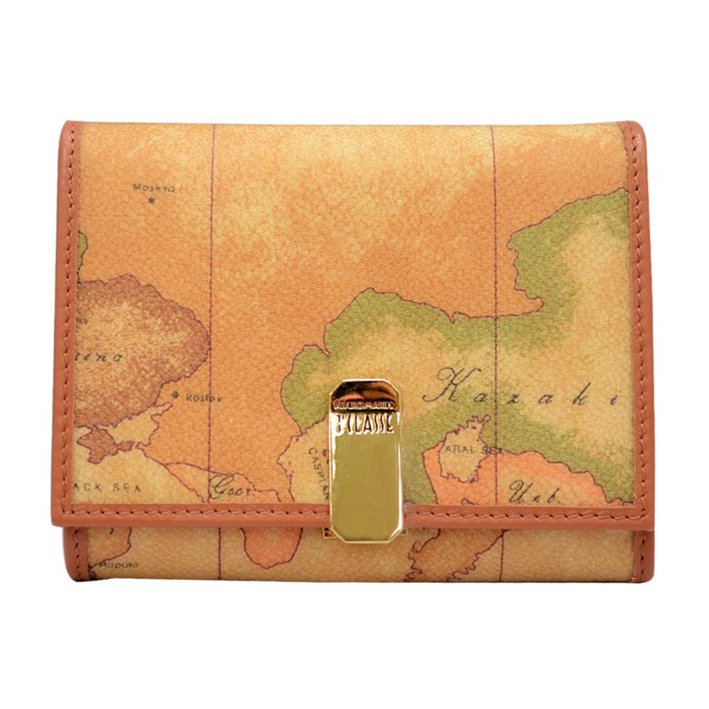 Alviero Martini 義大利地圖包 經典扣式零錢袋皮夾-地圖黃