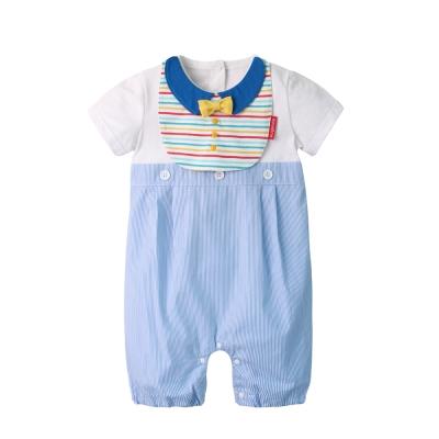 baby童衣 短袖假兩件造型連身衣附圍兜 2件套 60358