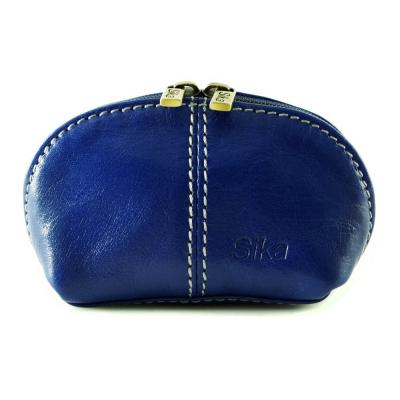 Sika - 義大利時尚真皮復古小巧拉鍊零錢包A8259-05 - 亮寶藍