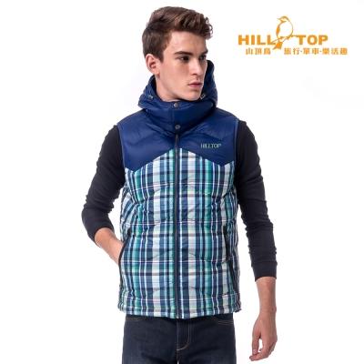 【hilltop山頂鳥】男款超撥水蓄熱羽絨背心F25MF5深藍/綠格子