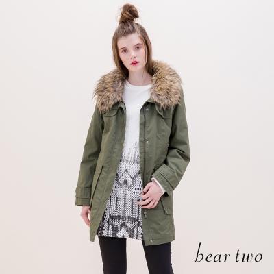 beartwo-網路獨家款保暖毛領口袋長版外套-共二色
