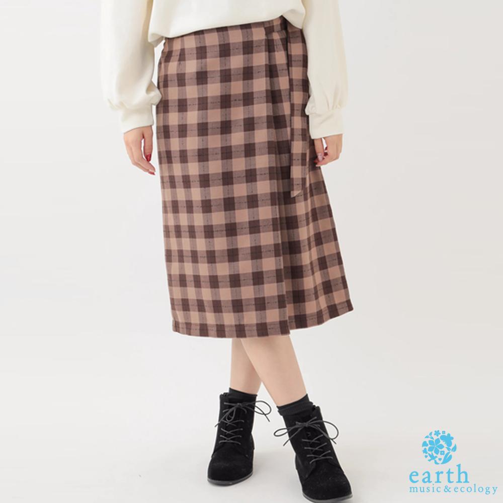 earth music 復古格紋腰帶造型長裙