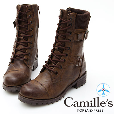 Camille's 韓國空運-拼接毛線綁帶短靴-咖啡